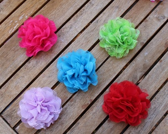 """4"""" Chiffon Dog Flower available in 5 Colors, Custom Size Loop, Dog Flower, Dog Accessory, Dog Collar Flower"""