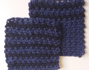 Set of 2 Cotton Crochet Cloths for Bodies or Dishes! Blue & Navy