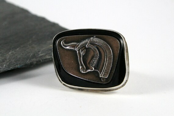 Rams Head Sterling Silver Men's Ring, Ornate Band, Former Cufflink