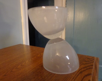 Mid-Century Art Glass Sculpture, 20th Century Modern Offset Half Oval Contemporary Frosted Glass