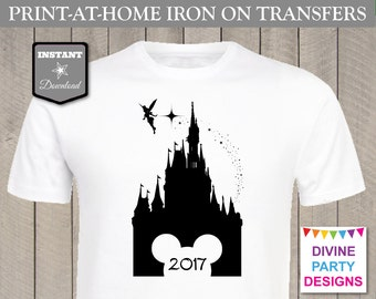 INSTANT DOWNLOAD Print at Home Disney Castle 2017 or 2018 Printable Iron On Transfer / Family Shirt / Trip / Item #2408
