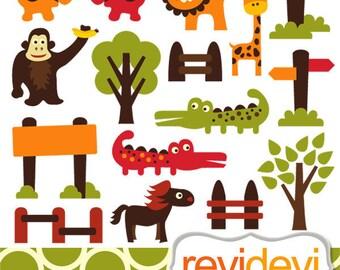 Wild animals clipart sale / safari jungle clip art - Retro Zoo Clipart / Commercial use / gorilla, alligator, giraffe, lion, elephant