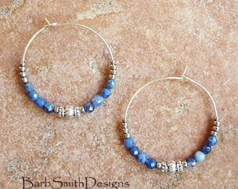 """Beaded Blue and Silver Hoop Earrings, Sodalite Beads, Large 1 3/8"""" Diameter in Sodalite (SOD)"""