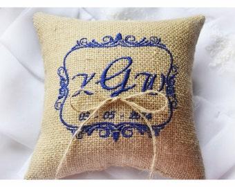 Burlap Wedding pillow , wedding pillow , ring bearer pillow, ring bearer pillow, personalized wedding pillow (R50B)