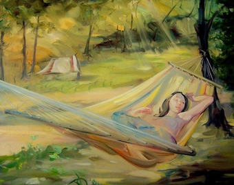Painting oil on canvas Romantic painting Sunny landscape Sunlight Woman in a hammock Original artwork