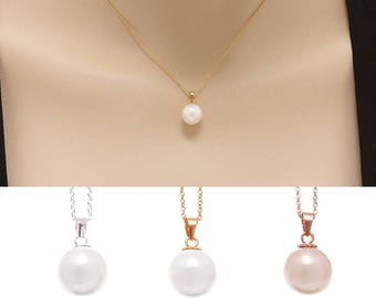 Wedding Gift, Pearl Necklace, Single Pearl Necklace, Shell Pearl Necklace, Layered Necklace, Classic Pearl Necklace