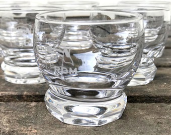 Set of 6 Royal Leerdam Bitters Glasses, In Original Box, Never Used, Etched with RDM Logo, Crystal Glasses, circa 1980s