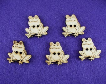 Buttons, Wooden, frog, 5 pieces, 3x3 cm  (15-0012A)