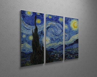 Van Gogh Starry Night Gallery Wrapped Canvas Triptych Print