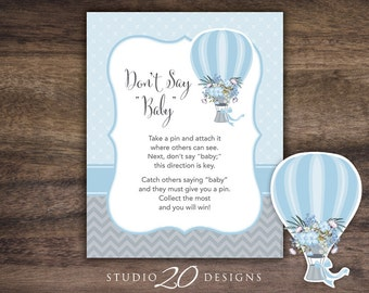 Instant Download Hot Air Balloon Don't Say Baby Sign, 8x10 Blue Grey Shower Icebreaker Pin Game, Printable Up Up and Away Baby Games #88B