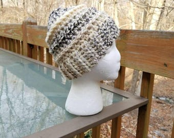 Messy Bun Beanie in Midnight - Ready to Ship - Ponytail Hat