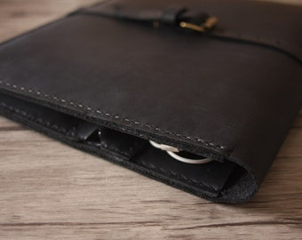 A4 Leather Portfolio , Passport Case, Field Notes Notebook Covers, Pad portfolio, Credit Card Sleeve - Top full grain black Leather
