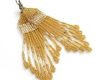 Light gold seed bead earrings Sparkle beaded earrings Long evening earrings Beaded dangle earrings Funky earrings Beaded fringe earrings