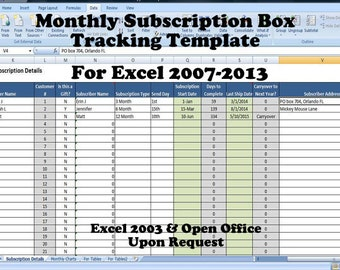 Monthly Subscription Box Tracking Template, Product of the Month Club Database Spreadsheet