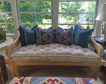 """4"""" Tufted Wool-Filled Daybed Cushion / Oeko-tex certified Wool Filling / All-Natural Linen, Cotton or Wool Fabric / Custom sizes on request"""