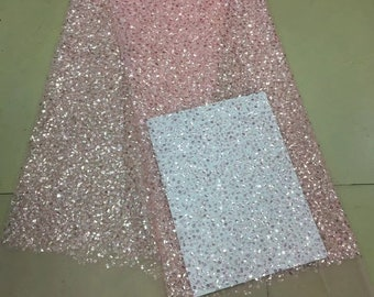 New fashion Sparkly sequins with beads on Mesh embroidery Lace Sequin Fabric For dress/Clothes/Events dress lace fabric one yard