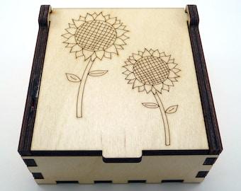 Sunflower Jewelry Box, Wood Trinket Box, Small Jewelry Case, Laser Cut Box, Jewelry Storage Box, Sunflower Wood Box, Jewelry Organizer