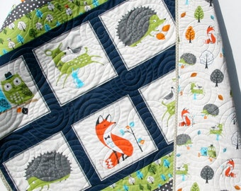Forest Baby Quilt, Boy Quilt, Baby Bedding, Nursery Blanket, Toddler, Forest Animals, Fox, Deer, Hedgehog, Green Blanket, Navy Blue, Gray
