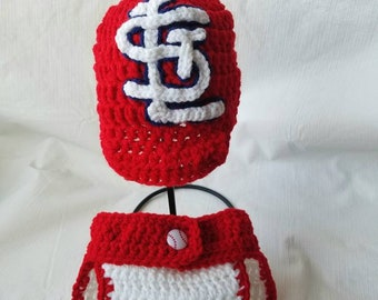 St. Louis Cardinals hat and diaper cover.
