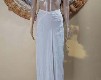 Vintage Full Length White Molla Kaye Lingerie Lace Hemed Slip Size XS- S