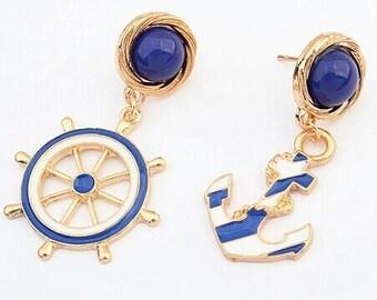 Blue and white nautical earrings
