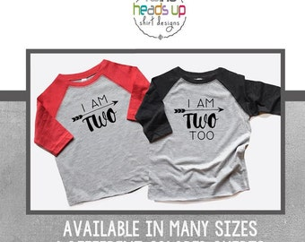 Second Birthday Shirts Twin Boys - Twin Boy 2nd Birthday Shirts Raglan - I Am Two/I Am Two Too Twin Tees - Toddler Two Shirts Twins - Trendy