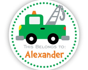 Personalized Name Tag Stickers - Green Polka Dots, Fun Little Tow Truck Name Label Stickers - This Belongs To - Back to School Name Labels