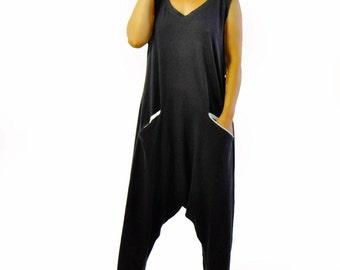 Black Harem jersey Jumpsuit/Women summer casual jumpsuit/Loose jumpsuit/Black romper/Oversize jumpsuit/Plus size jumpsuit/Two pockets/G1338