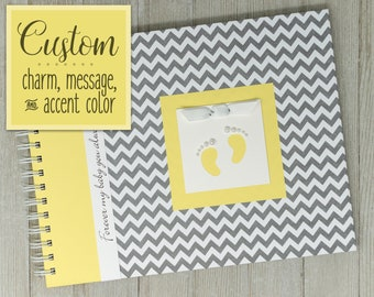 Pregnancy Journal | Gender Neutral | Pregnancy Gift | Pregnancy Book | Gray Chevron + Yellow