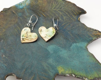 Rustic Heart Pottery Heart Earrings, Sweet Wild Roots Branches, Green Cream Black Brown HET