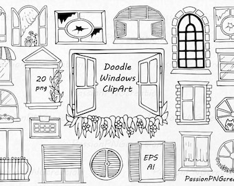 Doodle Windows Clipart, Hand Drawn window, digital windows clip art, PNG, EPS, AI, vector, For Personal and Commercial Use