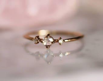 "14K Gold & Rosecut Diamond Ring, ""Moonlight Drive"" Ring, 3 Stone Ring, Multi Stone Ring, Solid Gold, Dainty Jewelry, Boho, April, Birthstone"
