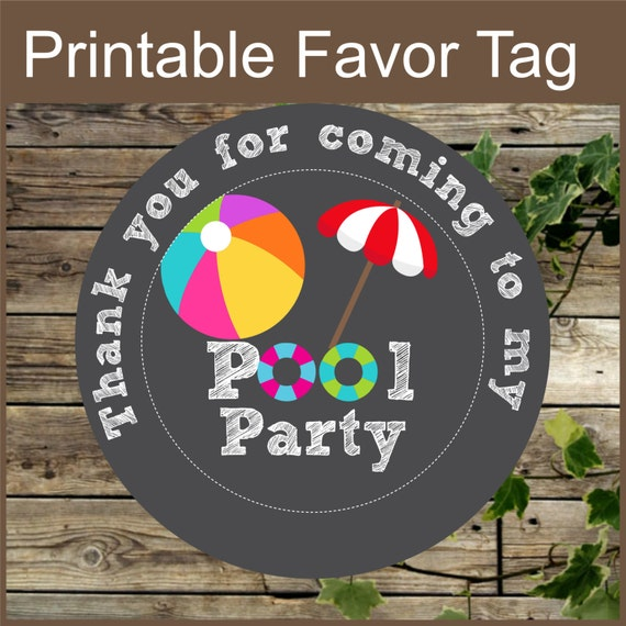 Pool Party Favor Tags Printable Chalkboard Pool Party Gift