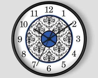 Blue Damask Wall Clock - Black White Damask with Blue Accents - 10-inch Round Clock - Made to Order