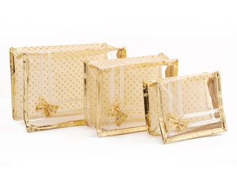 Set of 3 Golden Clear Multipurpose Makeup Bag/Cosmetic Pouch/Travel Kit/Toiletry Pouch/Utility Bags
