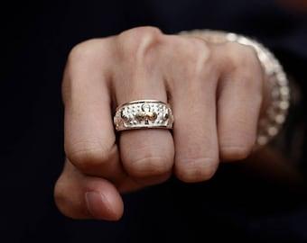 Silver Club Ring | Gold Club Charm Ring | Four Leaf Clover Ring | Mens Lucky Ring | Club Band Ring | Gambling Ring | Gambling Jewelry Casino