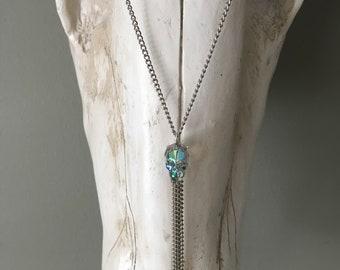 Iridescent green Swarovski Skull necklace