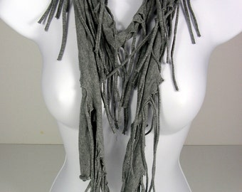 Gray Fringed Cotton T Shirt Scarf Grey Cotton Fringe Scarf  Fringed Scarves  Light Gray Scarves with Fringe Fringed Scarves Gray Scarves