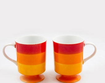 Ombre red orange mugs, Mid Century coffee cups, Made in Japan, Striped mugs