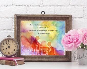 Montessori Quote, Montessori Print, Gift for Teacher, Montessori Teacher, Teacher Quote, Montessori Child, Montessori Gift, Education Quote