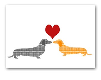 Dachshund Dogs In Love Art -  Dachshunds, sausage dogs, Wedding Gifts, Anniversary Gifts, Dachshund Gifts, Dog Gift Ideas