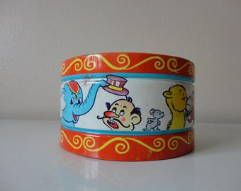 VINTAGE tin lithograph TOY DRUM - chein - made in usa - nursery kids room decor - animal decor