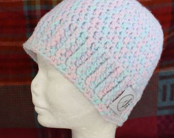 Pink And Blue Beanie. Handmade crochet beanie made with soft wool. Very warm.