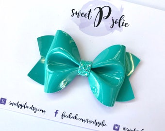 Teal Blue Faux Patent Leather Glitter Hair Bow // Hair Clip Headband // Large Girls Newborn Baby Toddler Mini Bow