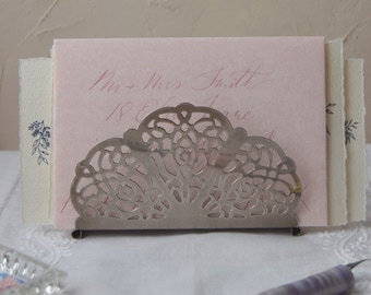 Vintage Metal Filigree Letter Rack, Art Nouveau Letter Rack, Serviette Holder, Napkin Holder