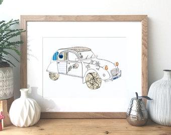 Citroen 2CV - Ink and collage illustration