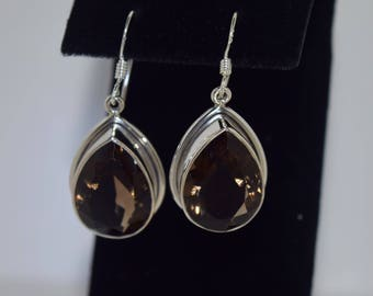 Smokey Quartz Earrings Sterling Silver Setting, with Sterling Silver Earwires