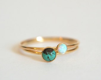 Set 2 Gold Turquoise Rings, Turquoise Ring Gold, Gold Filled Turquoise Ring, Gold Opal Ring, Opal Ring Gold, Stackable Ring, Stacking Ring
