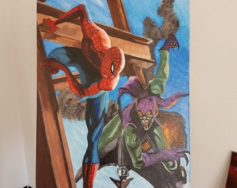 Spiderman and goblin green oil painting