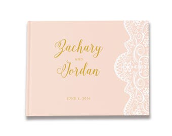 Blush Wedding Guest Book, Blush and Gold Wedding Guestbook, Wedding Sign In Book, Color Choices Available, GB 103